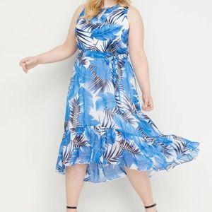 Lane Bryant Floral Chiffon Midi Dress NEW